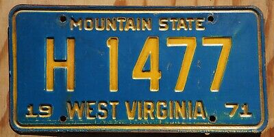 1971 West Virginia License Plate # H 1477