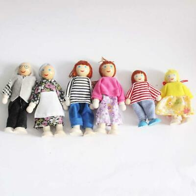 6x Wooden Furniture Dolls House Family Miniature Doll Toy For Kid Child Gifts.