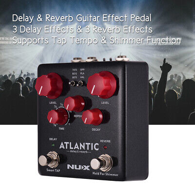 NUX ATLANTIC Delay & Reverb Guitar Effect Pedal Dual Footswitch True Bypass Q1V1