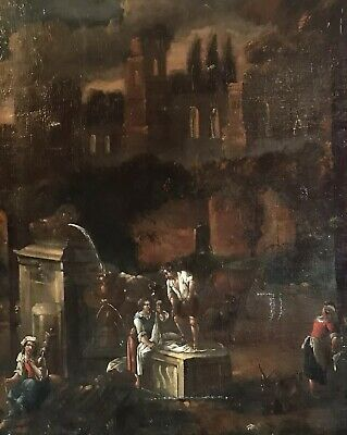 Fine Large 17Th Century Italian Old Master - Gathering Of Figures Water Fountain