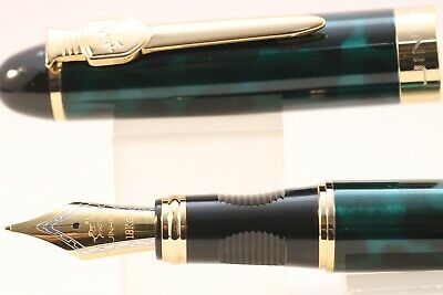New Jinhao x450 MKII Green & Black Marble Fine Fountain Pen with Gold Trim