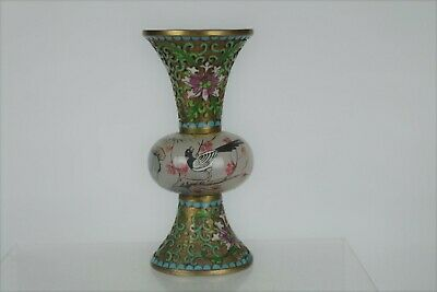Fine Rare Chinese Hand-painted Glass and Cloisonne Ornamental Vase