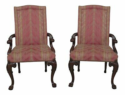 46826EC: Pair KARGES Upholstered Ball & Claw Open Arm Chairs
