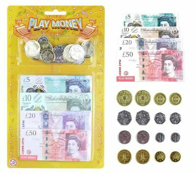 Pretend Play Money Kids Fake New Currency Pound Sterling Note Cash Coins Toys