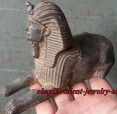 Old antique excellent Egypt Buddhism bronze The Sphinx Vintage peace Statue
