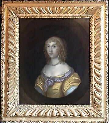 Very Fine 1600's English Oil On Wood - Aristocratic Portrait Of Lady With Pearls