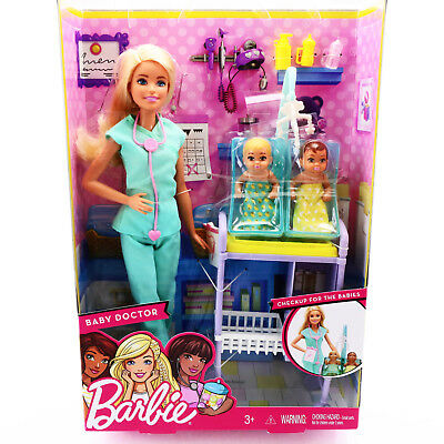 Barbie Pediatrician Doll Baby Doctor 2 Baby Toddlers Playset Toy Barbie Careers