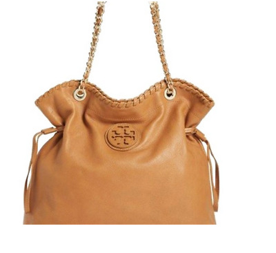 e3d521dd4330 Tory Burch Marion Slouchy Camel Leather Hobo Bag