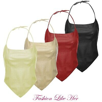 Ladies Bustier Sleeveless Top Womens PVC PU Faux Leather Sexy Vintage HalterNeck