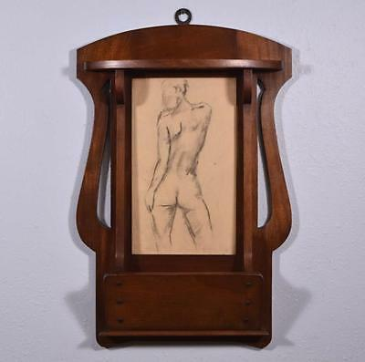 *Vintage Art Nouveau Solid Mahogany Letter Holder w/Nude Drawing