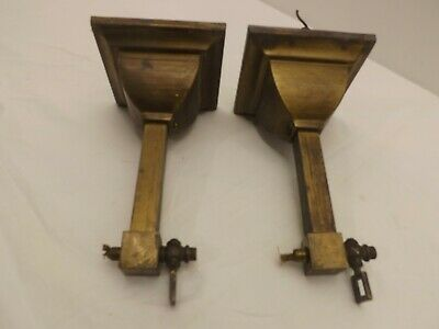 2 ANTIQUE Solid Brass MISSION ARTS & CRAFTS Wall Sconces  (Lot B)