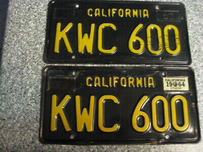 1963 BLACK CALIFORNIA License Plates, 1964 Validation, DMV Clear  Guaranteed, G