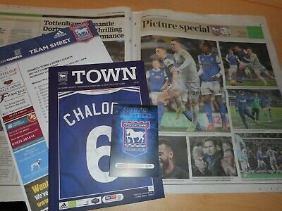 IPSWICH TOWN  v  DERBY COUNTY  2018/19  FEB 13 + T/ SHEET + NEWSPAPER inc REPORT
