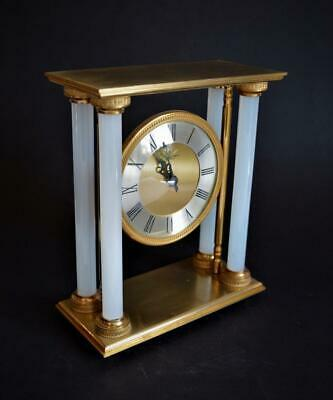 SUPERB VINTAGE FRENCH GILT BRONZE & VASELINE GLASS CLOCK by HOUR LAVIGNE Paris
