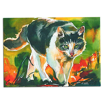 original hand painting drawing watercolor art picture miniature ACEO cat