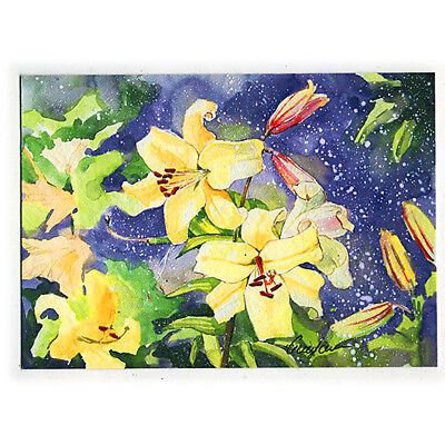 original hand painting drawing watercolor art picture ACEO flowers artist signed