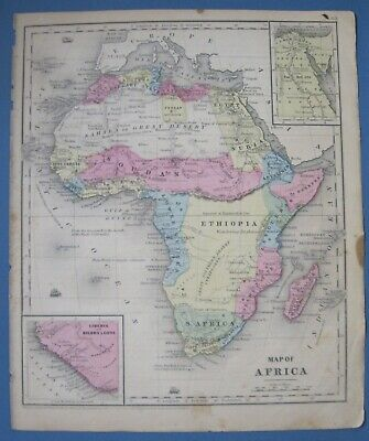1848 Smith Map:Africa-Colonization Free People of Color-Egypt-Barbary Coast-Rare