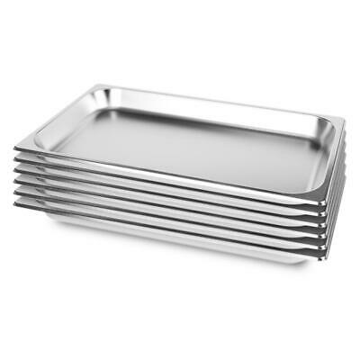 6 x Full Size 1/1 GN Pan 65MM Deep Stainless Steel Gastronorm GN Pan Tray