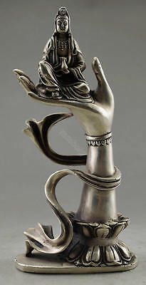 Collectible Vintage Old Tibet Silver Carved Kwan-yin Sit On Buddha Hand Statue