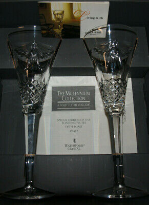 Waterford Crystal - Millennium - Toasting Flutes - PEACE - Set of 2 - MIB