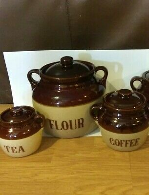 Monmouth Pottery Western Stoneware Set of 4 canisters
