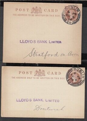 Ireland 1898/1900 pairs of cards, different sizes both cancelled with Dublin/ 50