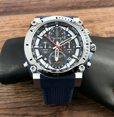 NEW Bulova 98B315 Men's Precisionist Champlain Stainless Steel Chronograph Watch