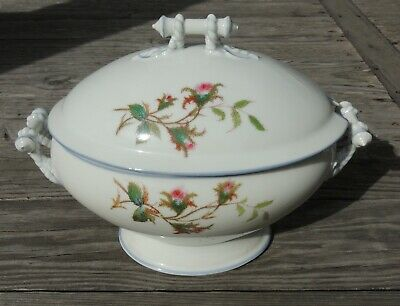 Haviland Limoges Moss Rose Blue Trim Tureen H & Co Antique