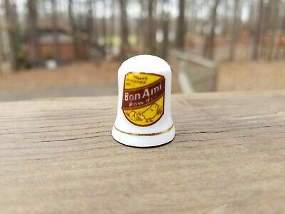 Rare Vintage Bon Ami Powder Porcelain Thimble - Beautiful Advertising Premium