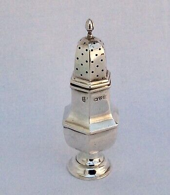 Hallmarked Silver Baluster Panel Form Pepper Pot Nathan & Hayes CHESTER 1908