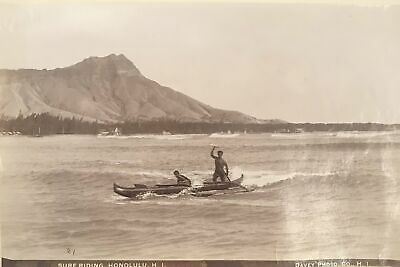 1880's Vintage Albumen Photograph Of Surf Riders In Hawaii By Davey