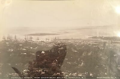 1880's Vintage Albumen Photograph Of Honolulu Harbor By Davey