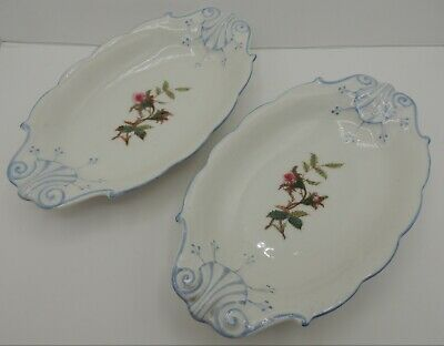 2 Haviland Limoges Moss Rose Blue Trim Au Gratin Dishes H & Co Antique