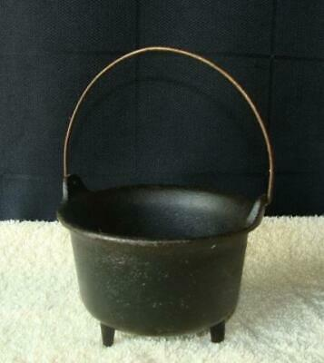 Small Old Table Top Cast Iron Cauldron / Pot TriPod - Marked 215 H-1