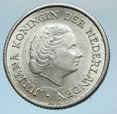 1957 Netherlands QUEEN Juliana SILVER 1/4 Gulden Coin of ANTILLES i74360