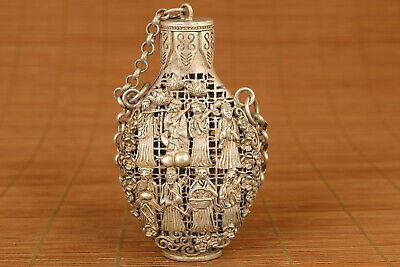 chinese old copper hand carved Eight immortals statue snuff bottle
