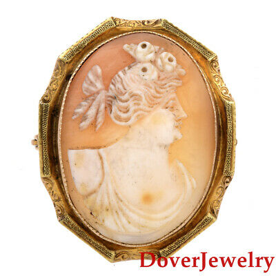 Vintage Cameo Shell 10K 14K Yellow Gold Lady Pendant Pin 7.9 Grams NR