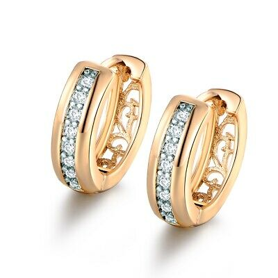 Fashion Gold Platinum Filled White Sapphire Crystal Women Charm Hoop Earrings