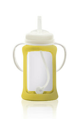 Cherub Baby Glass Straw Cup Silicone Shock Proof Sleeve 240ml YELLOW Free postag