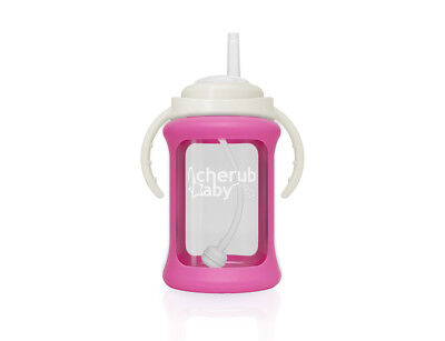 Cherub Baby Glass Straw Cup Silicone Shock Proof Sleeve 240ml PINK Free postage