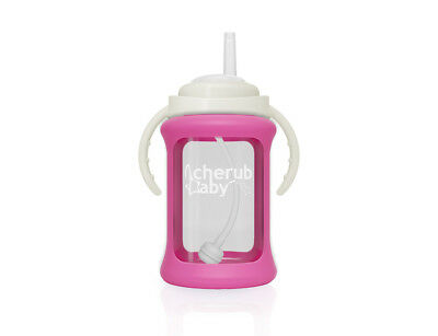 Cherub Baby Glass Straw Cup & Silicone Shock Proof Sleeve Wide Neck 240ml PINK