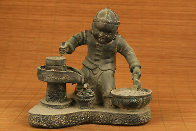 unique very big chinese culture bronze country grind the mill statue ornament