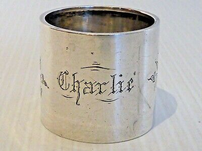 "Duhme & Co. Sterling Napkin Ring W/ Lovely Bright Cut Bird & Flowers ""charlie"""