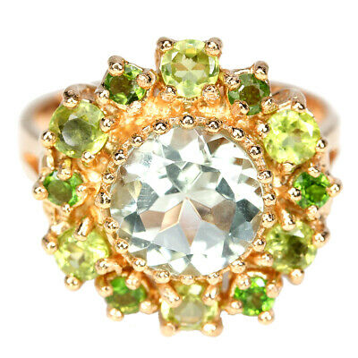 Real Green Amethyst Peridot Chrome Diopside Sterling 925 Silver Flower Ring 9.5