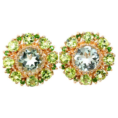 Real Green Amethyst Peridot Chrome Diopside Sterling 925 Silver Flower Earring