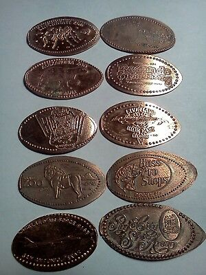 LOT OF 10 DIFFERENT ELONGATED PENNIES-Elongated / Pressed Pennies L-58