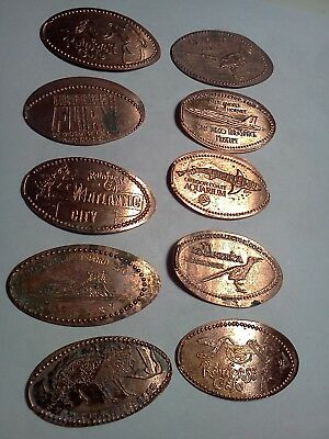 LOT OF 10 DIFFERENT ELONGATED PENNIES-Elongated / Pressed Pennies L-51