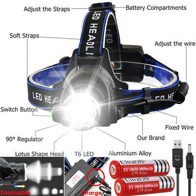 Rechargeable 90000LM T6 LED Headlamp Headlight Flashlight Head Torch 18650 Camp