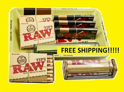 Bundle Combo 3x RAW Black 1 1/4 Rolling Paper+3x PreRolled Tips+ 5x7 Tray+Tube