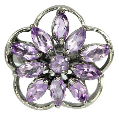 Natural Aaa Purple Amethyst Marquise & Round Sterling 925 Silver Flower Ring 6